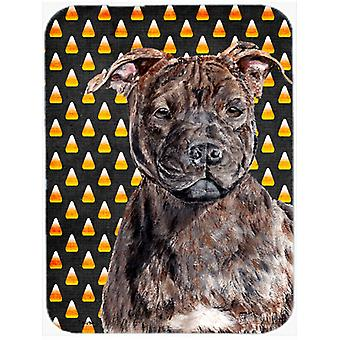 Staffordshire Bull Terrier Staffie Candy Corn Halloween Mouse Pad, Hot Pad or Trivet SC9657MP
