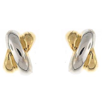 Silver  and  Gold Plated Overlapped Semi Hoop Stud Earrings