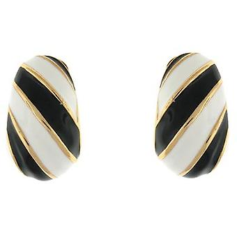 Kenneth Jay Lane Black & White Enamel Twist Clip On Earrings