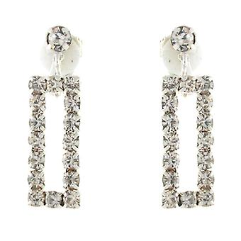 Clip On Earrings Store Classic Clear Crystal Rectangle Drop Clip On Earrings