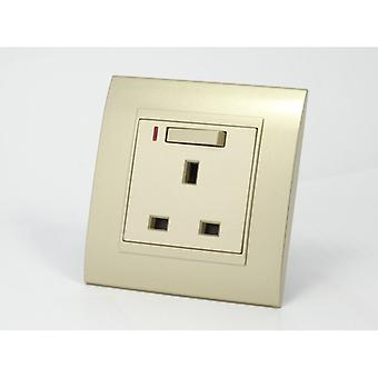 I LumoS AS Luxury Gold Plastic Arc Single Switched with Neon Wall Plug 13A UK Sockets