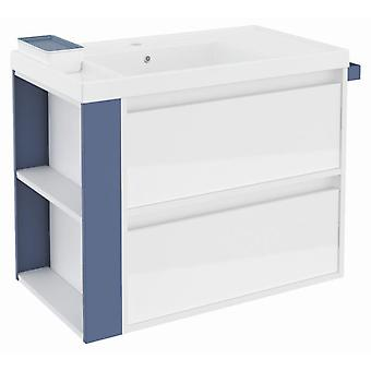 Bath+ Sink Cabinet 2 Drawers With Resin White Gloss Blue 80Cm