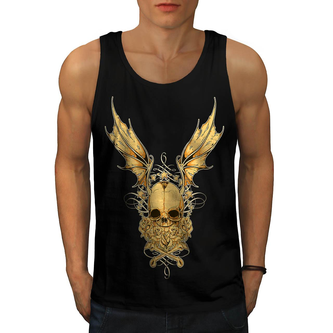 Evil Horror Skull Fly Devil Wing Men Black Tank Top | Wellcoda