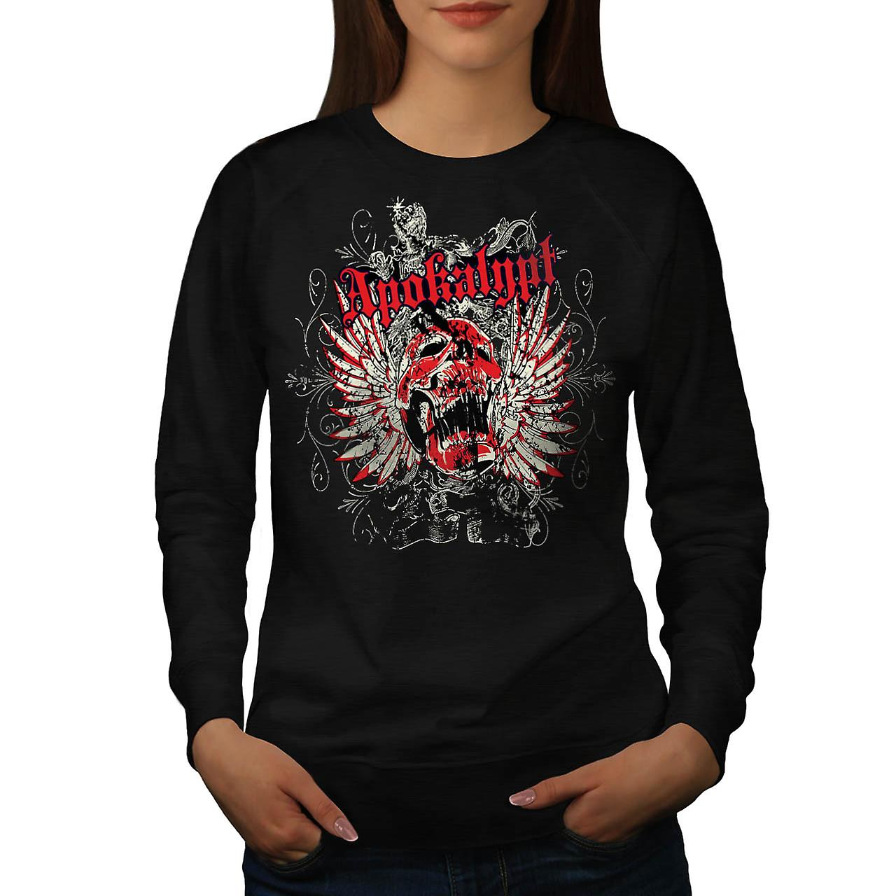 Apocalypse Dead Curse Skull Head Women Black Sweatshirt | Wellcoda