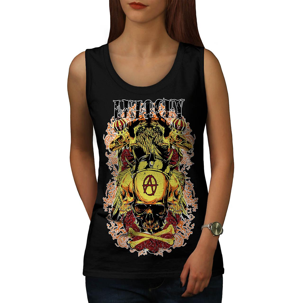 Anarchy Death Eagle Skull Women Black Tank Top | Wellcoda