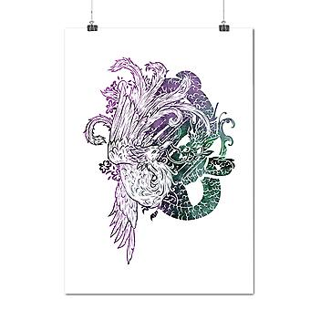 Matte or Glossy Poster with Japan Mystic Bird Fantasy | Wellcoda | *y1791