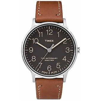 Timex Mens Waterbury Classic Black Dial Brown Strap TW2P95800 Watch