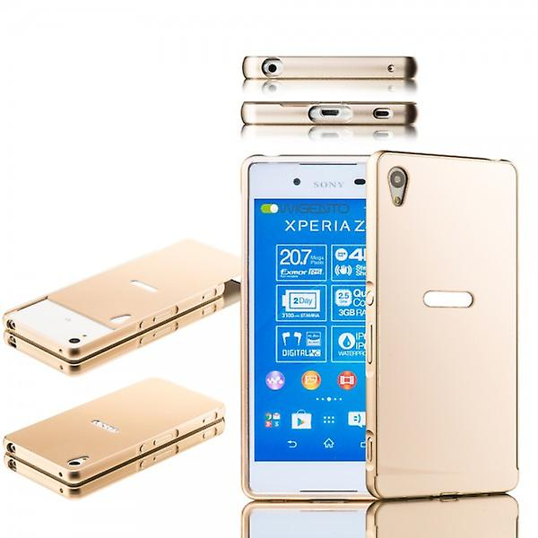 Aluminium bumper 2 pieces with cover gold for Sony Xperia Z3 plus E6553 (+) and dual