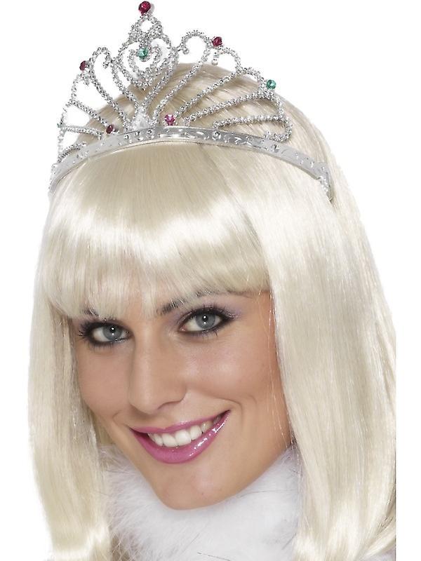 Fan design silver tiara