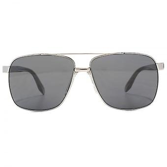 Versace Square Aviator Sunglasses In Gunmetal Grey