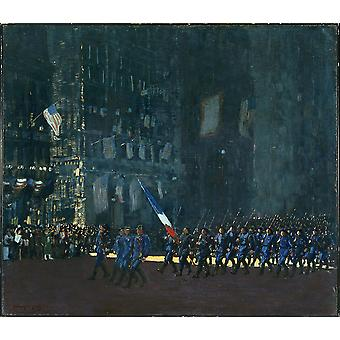 George Luks - Blue Devils on Fifth Avenue Poster Print Giclee