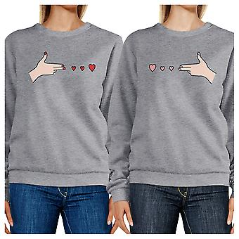 Gun Hands With Hearts Unisex Grey Sweatshirts Pullover Crewneck