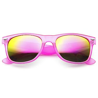 Neon Frosted Frame Relfective Color Mirror Lens Horn Rimmed Sunglasses