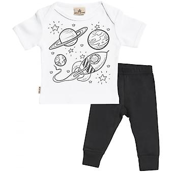 Verwend rotte Rocket Print Baby T-Shirt & Baby Jersey broek Outfit Set