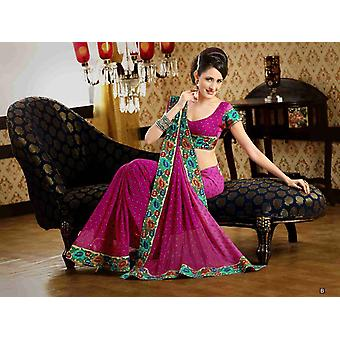 Chakori tief rosa Faux Crepe Luxus Party tragen Sari saree