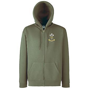 I gallesi reggimento Logo ricamato - ufficiale dell'esercito britannico con cerniera giacca con cappuccio