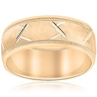 10k Yellow Gold Mens Wedding Band with Satin Finish and Cuts 8mm