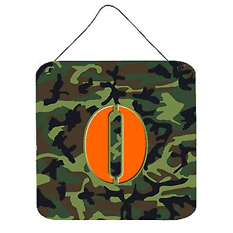 Letter O Initial Monogram - Camo Green Wall or Door Hanging Prints