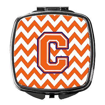 Letter C Chevron Orange and Regalia Compact Mirror
