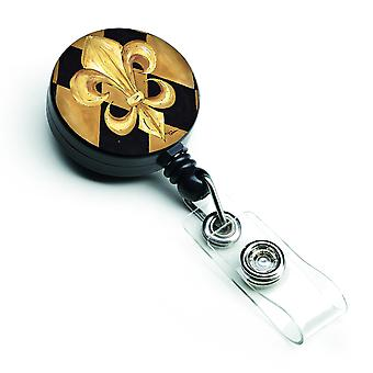 Black and Gold Fleur de lis New Orleans Retractable Badge Reel