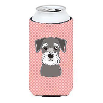Checkerboard Pink Schnauzer Tall Boy Beverage Insulator Hugger