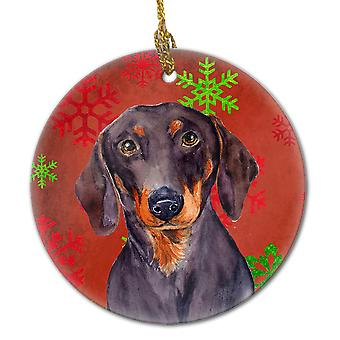 Dachshund Red Snowflake Holiday Christmas Ceramic Ornament LH9313