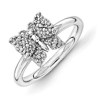2.25mm Sterling Silver Rhodium-plated Stackable Expressions Diamond Butterfly Ring - Ring Size: 5 to 10