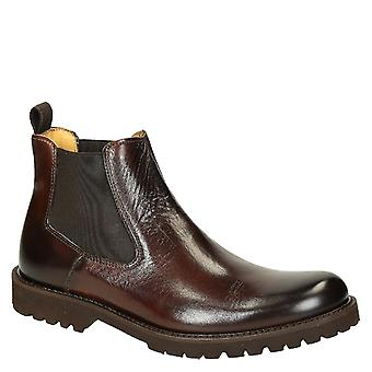Dark brown calf leather men's chelsea boots with rubber sole