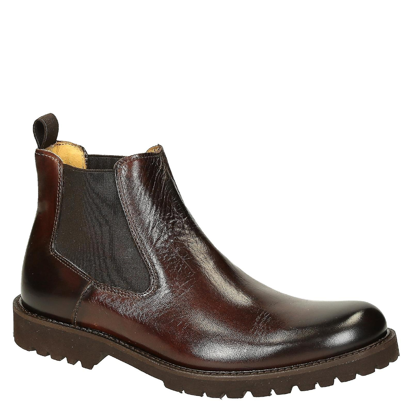 Dark brown calf leather rubber men's chelsea boots with rubber leather sole c01656