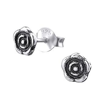 Rose - 925 Sterling Silver Plain Ear Studs
