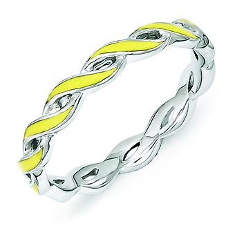 2mm Sterling Silver Stackable Expressions Yellow Enamel Ring - Ring Size: 5 to 10