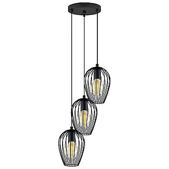Eglo Newtown Trio Of Black Ceiling Pendant Lamps