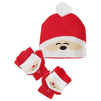 Childrens/Kids Christmas Reindeer / Santa / Snowman Winter Hat And Gloves Set