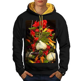 Grøntsager vegansk mad mænd sorte (guld Hood) kontrast Hoodie | Wellcoda