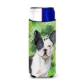Black White French Bulldog St. Patrick's Michelob Ultra Hugger for slim cans