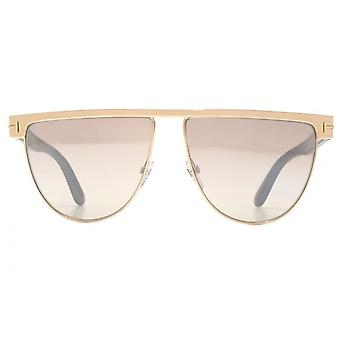 Tom Ford Stephanie 02 Sunglasses In Shiny Rose Gold Brown Mirror