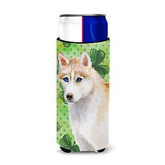 Siberian Husky St Patrick's Michelob Ultra Hugger for slim cans