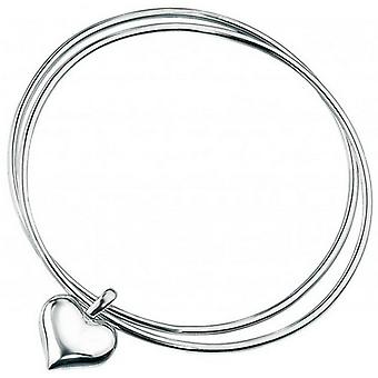Beginnings Double Heart Bangle - Silver