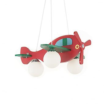 Ideal Lux Avion Childrens Bedroom Novelty Airplane Light, Red