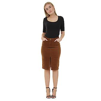 Knee-length Corduroy Pencil Skirt - Brown Midi Skirt with stretch