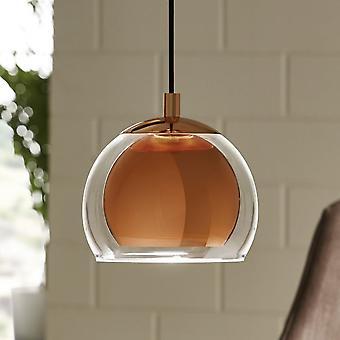 Eglo Rocamar Copper And Glass Single Pendant