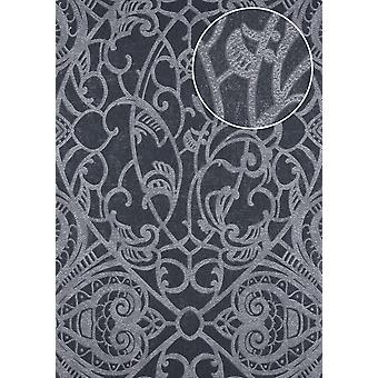 Baroque wallpaper ATLAS CLA-597-8 non-woven wallpaper imprinted with graphic patterns shiny anthracite beige grey grey brown 5.33 m2