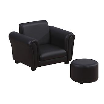 HOMCOM Single Seater Kids Sofa Set Children Couch Seating Game Chair Seat Armchair w/ Free Footstool (Black)