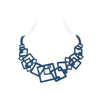 Woman geometric effect tattoo in blue Silicone necklace