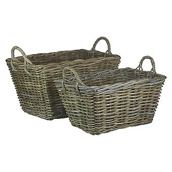 Set of 2 Rectangular Grey Rattan Floor Storage Baskets