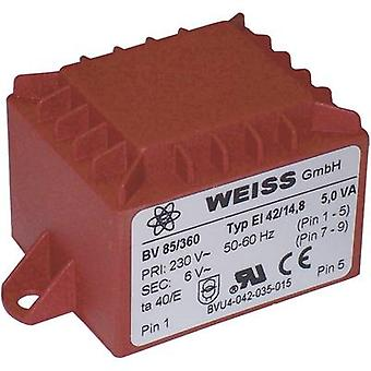 PCB mount transformer 1 x 230 V 1 x 24 V AC 5 VA 208 mA 85/365 Weiss Elektrotechnik