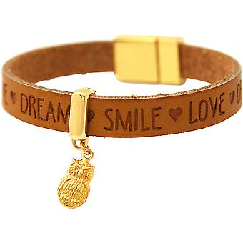 Bracelet Gemshine Women's Bracelet UHU Gilded WISHES Brown Magnetic Clasp
