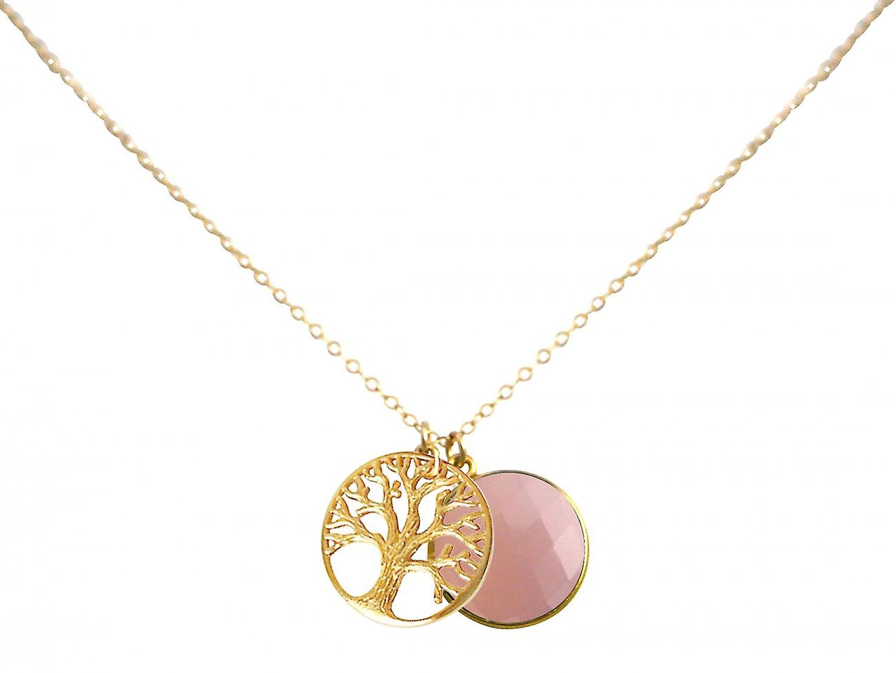 Gemshine - Damen - Halskette - Anhänger - LEBENSBAUM - 925 Silber Vergoldet - Onyx - Rosa - 45 cm