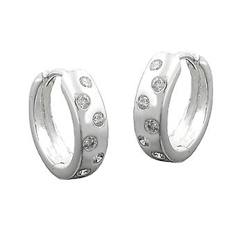 Round hinge Creole silver cubic zirconia points Creole earring sterling silver