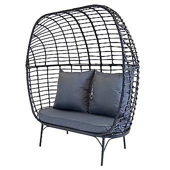 Charles Bentley Contemporary Double Rattan Pod Chair - In Black & Grey